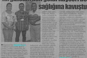 Приехав из Кыргызстана, пациент Кылычбек Шамши Уулу,  вылечился в г.Кайсери